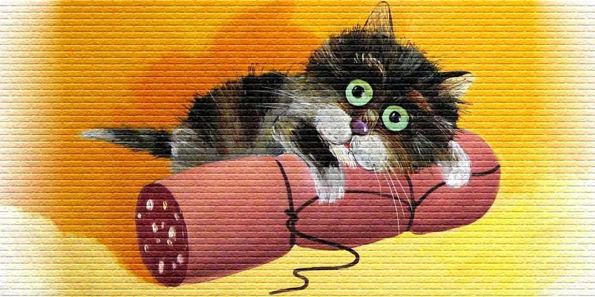 Котенок с колбасой - картинка