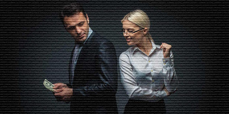 Мужчина с деньгами и женщина - картинка