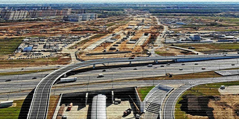 Строительство дороги у города - картинка